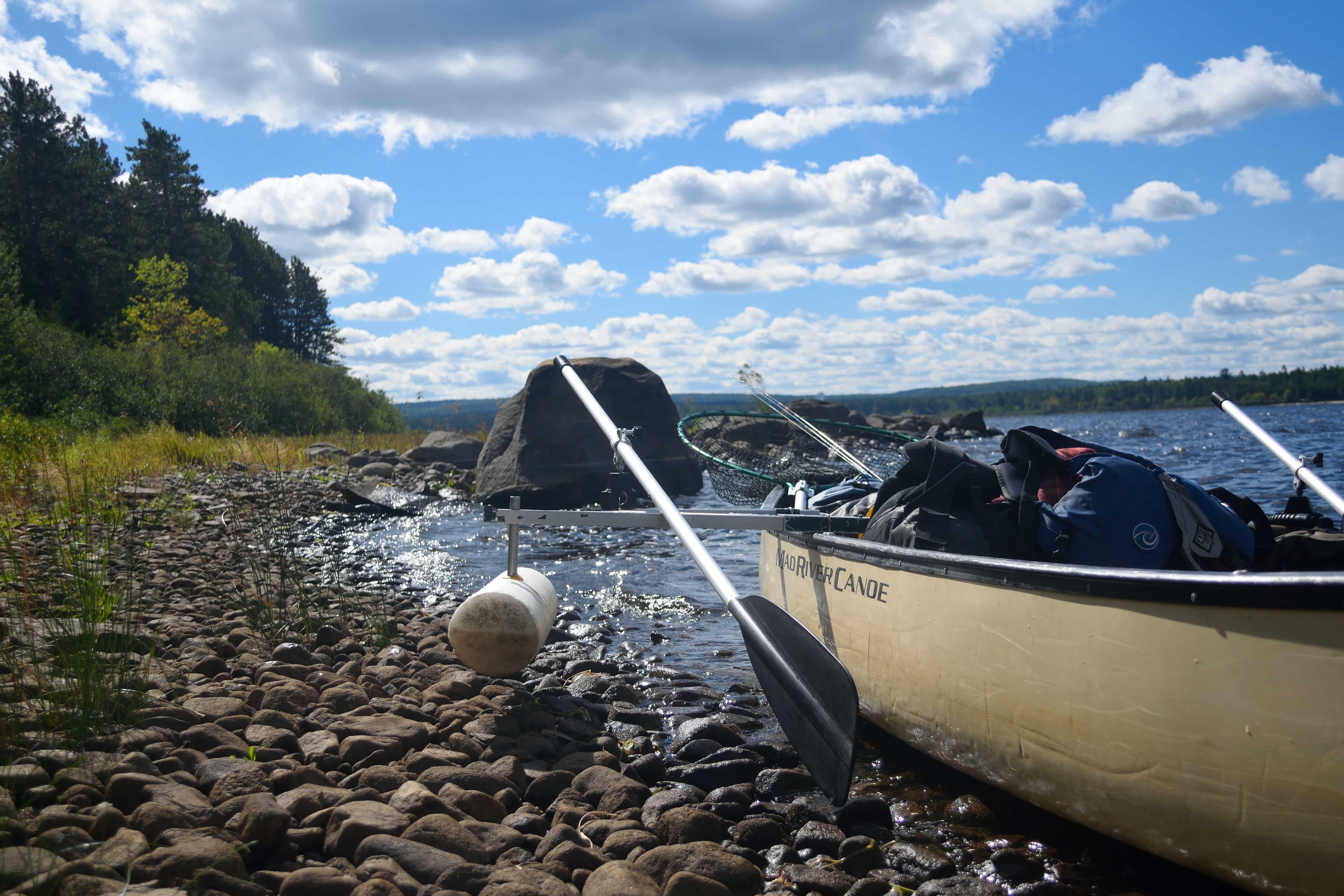 Short bank break. Take note of the canoe set up